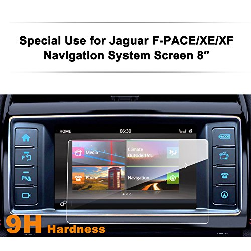 Jaguar F-PACE/XE/XF 8-Inch Car Navigation Screen Protector,LFOTPP [9H Hardness] Tempered Glass Center Touch Screen Protector Anti Scratch High (0.25 Edt)