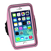Cell Phone Armband: 5.7 Inch Case for iPhone 7 Plus, 6/6S Plus, S8, PIxel XL, All Galaxy Note Phones.etc. CaseHQ Adjustable Reflective Velcro Workout Band, Key Holder & Screen Protector (pink)