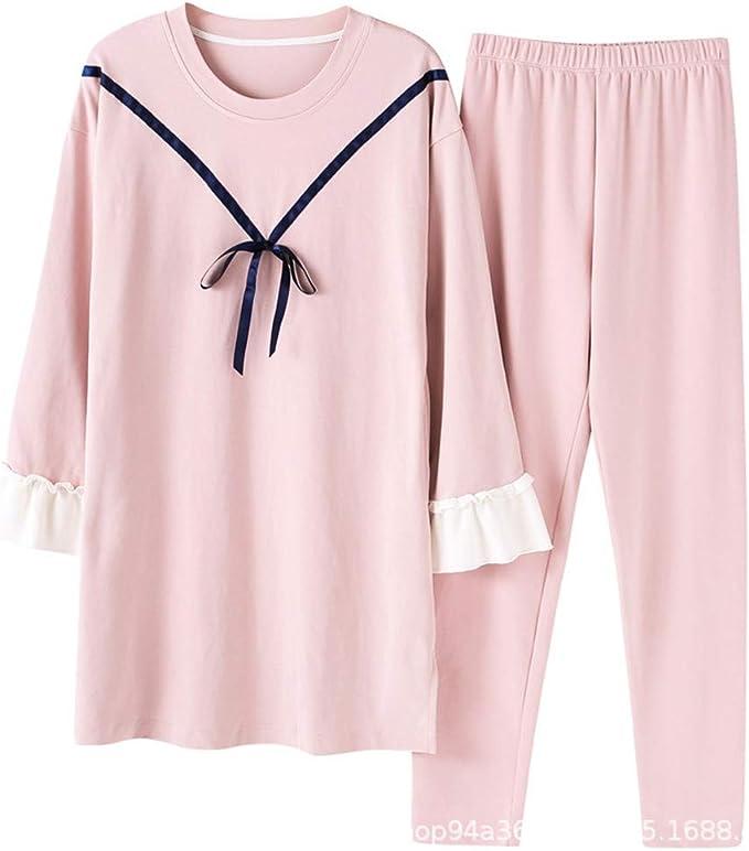 Pijamas de Mujer Algodón Manga Larga Sección Media y Larga Traje ...