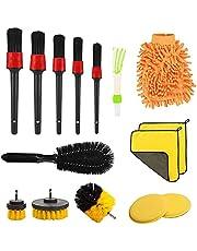 Car Cleaning Brush Set, Hyacinthy 15 Pcs Car Care Detail Cleaning Brushes kit, Electric Drill Brush, Wheel Cleaning Brush, Car Wash Glove, Microfiber Cloth, Detailing Car Brush for Car Interior