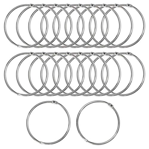 (uxcell 20 Pack Metal Curtain 3 Inch Snap Joint Drape Ring Loops for Bathroom Curtain Rods Plating Finish, Silver Tone)