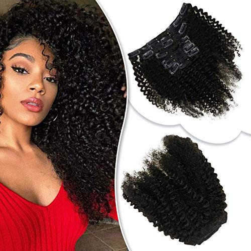 RUNATURE Afro Kinky Curly Clip in Human Hair Extensions 10Inch 100g 7pieces Natural Black Full HeadRemy Hair Clip on Hair Weave for African American Women (Best Brand Of Weave For African American Hair)