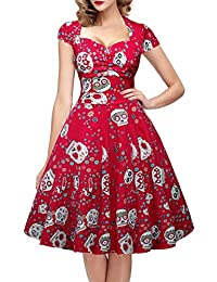 Womens Polka Dot Sugar Skull Vintage Sewing Retro Rockabilly Party Dress Cap Sleeve