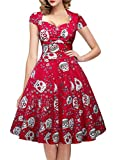 OTEN Women's Floral Sugar Skull Cap Sleeve Sewing Retro Party Rockabilly Dress,Red,Small