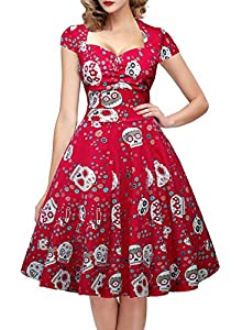 22. OTEN Polka Dot Sugar Skull Rockabilly Cocktail Party Dress