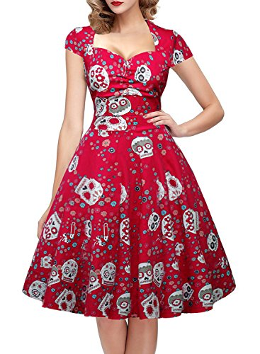 OTEN Women's Floral Sugar Skull Cap Sleeve Sewing Retro Party Rockabilly Dress,Red,XX-Large -
