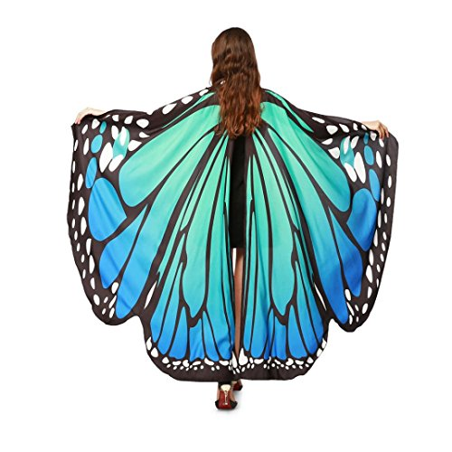 Han Shi Butterfly Costume Scarves, Trendy Christmas Shawl Wraps Tops Fairy Pixie Accessory (Blue, L)