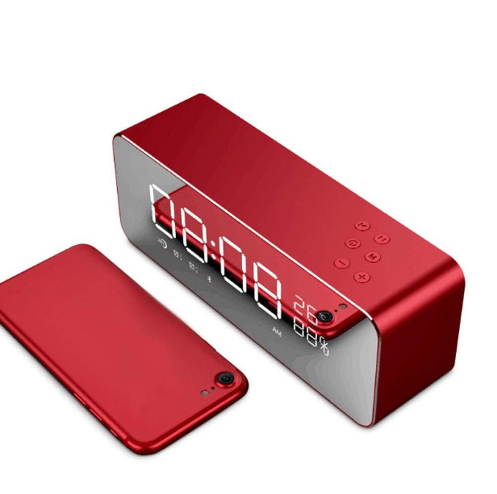 Altoparlante Sveglia con Schermo Desktop Sound Metal Shell Casa Camera da Letto Doppia Sveglia Altoparlante Rosso