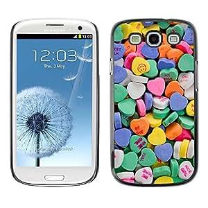 All Phone Most Case / Hard PC Metal piece Shell Slim Cover Protective Case Carcasa Funda Caso de protección para Samsung Galaxy S3 I9300 candy valentines blue love hearts