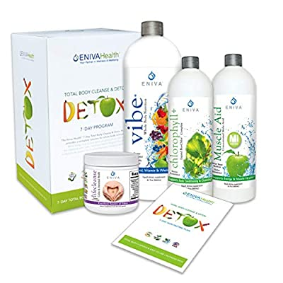 Detox and Cleanse 7 Day NO DIETING Kit for Weight Loss, Belly Fat, Liver,Colon   All Natural, Non Fasting, Complete Kit. Voted Best 2018. Eniva Health
