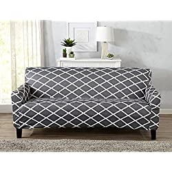 Great Bay Home Strapless Stretch Printed Slipcover Couch Cover, Stain and Spill Resistant. Tori Collection (Sofa - Grey)