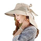 Apparel : LOVEHATS Womens Fashion Large Brimmed Sun Hats Foldable Sunhats Self-Tie Bow Hat Summer Beach Floppy Cap Headwear