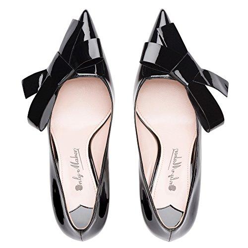 Onlymaker Spitze Damen Pumps High Heels Stilettos Geschlossene Toe Schuhe Black2