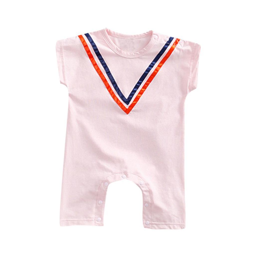 WARMSHOP Infant Baby Boy/&Girl Stripes Solid Print Short Sleeve Organic Summer Casual Newborn Creeper Shorts Set