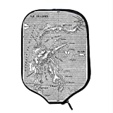 YOLIYANA Island Map Durable Racket Cover,Vintage Style French Map Chart of Sulawesi Island Mediterranean Destination for Sandbeach,One Size