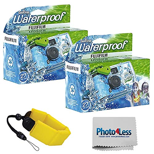 Fujifilm Quick Snap Waterproof 35mm Single Use Camera 2 Pack + General Brand Floating Foam Strap (Yellow)