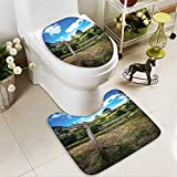 SOCOMIMI U-Shaped Toilet Mat Wooden Sign in Hobbit Land East West Farthing Movie Set New Zealand The Washable Non-Slip