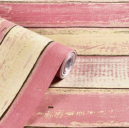 (Amao Vintage Faux Pink Wood Pattern Sticker Paper Peel & Stick Backsplash Removable Wallpaper 17.7''x79'' )