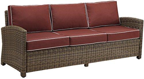 Crosley Furniture Bradenton Outdoor Wicker Patio Sofa with Cushions - ()