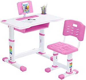 Liraly Kids Study Desk and Chair Set, Height Adjustable Children Desk, with Bookstand and Drawer, Ergonomic Student Writing Desk for Studying