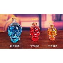 One Piece 3 Szie Creative Glass Crystal Skull Bottle Crystal Skull Whiskey Vodka Wine Bottle Beer Glass Bottle (Big-380ML)