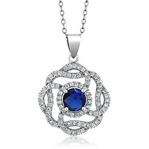 2.61 Ct Round Blue Simulated Sapphire 925 Sterling Silver Pendant with 18