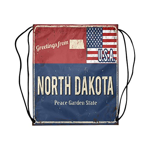 INTERESTPRINT North Dakota State Rusty Metal Sign with USA Flag Drawstring Bags Kids School Travel Daypack Gym Bag Water Resistant Polyester