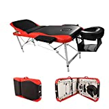 Massage Aluminum Table Portable Facial Bed 84''L 3 Fold W/ Sheet Bolsters Carry Strong heavy Black Orange