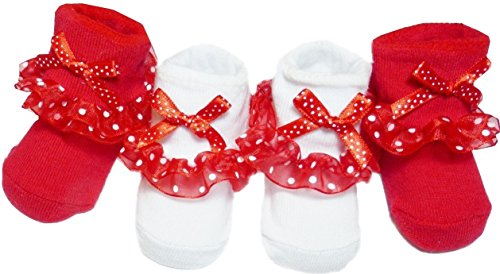 Red & White Socks with Polka Dot Ruffles for Baby Girl 0-6 Months (Red And White Polka Dot Christmas Stockings)