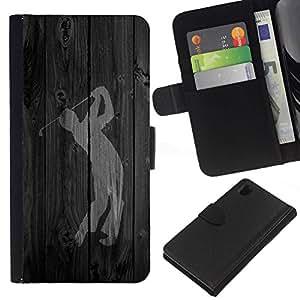 // PHONE CASE GIFT // Moda Estuche Funda de Cuero Billetera Tarjeta de crédito dinero bolsa Cubierta de proteccion Caso Sony Xperia Z1 L39 / Golf Swing Word /