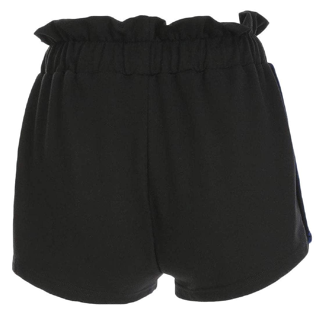Hajotrawa Womens Casual Ruffle Drawstring Stripe Split Shorts