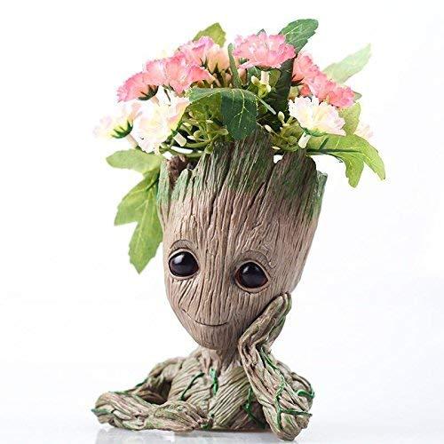 Flowerpot Treeman Baby Groot Succulent Planter Cute Green Plants Flower Pot with Hole Pen Holder Chin up