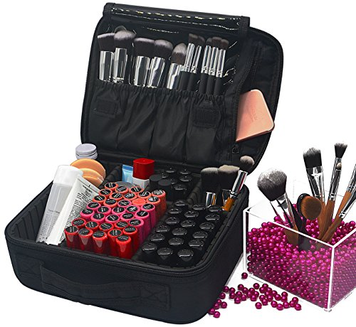 Divider Presentation Kit (Portable Travel Makeup Train Case with Adjustable Dividers, 10.4'' Makeup Cosmetic Case Bag Cosmetic Box Pouch Artist Organizer for Cosmetics Makeup Brushes Toiletry Jewelry, Black)