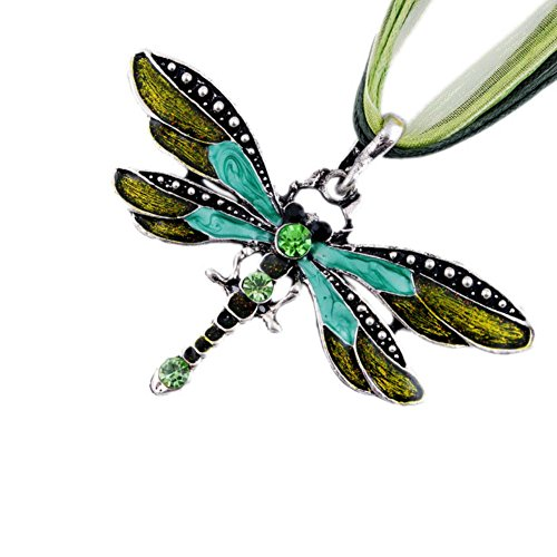 (AKOAK Fashion Creative Bohemian Jewelry Ethnic Multi-layer Chain Colorful Enamel Dragonfly Pendant Necklace(Green))