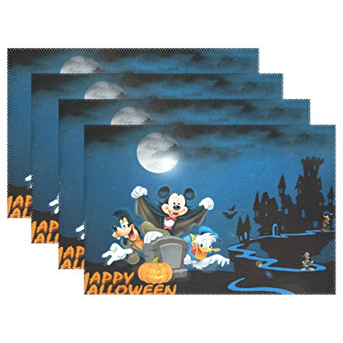 Halloween Vampire Cartoons (YMXHUR Halloween Cartoon Mickey Mouse Vampire Placemats for Placemat for Kitchen Table Polyester Heat Resistant Table Mats 18x12 inches Set of)