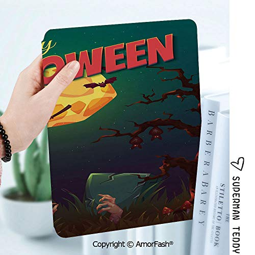 Case for Samsung Galaxy Tab A 8.0 2017 Release for T380/T385,Auto Wake/Sleep,Halloween Happy Halloween Poster Design Witch on Broom Mushroom Dead Resurgence Vintage Decorative]()