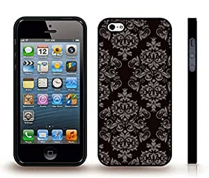 iStar Cases? iPhone 4 Case with Grey Fancy Repeating Pattern on Black , Snap-on Cover, Hard Carrying Case (Black)