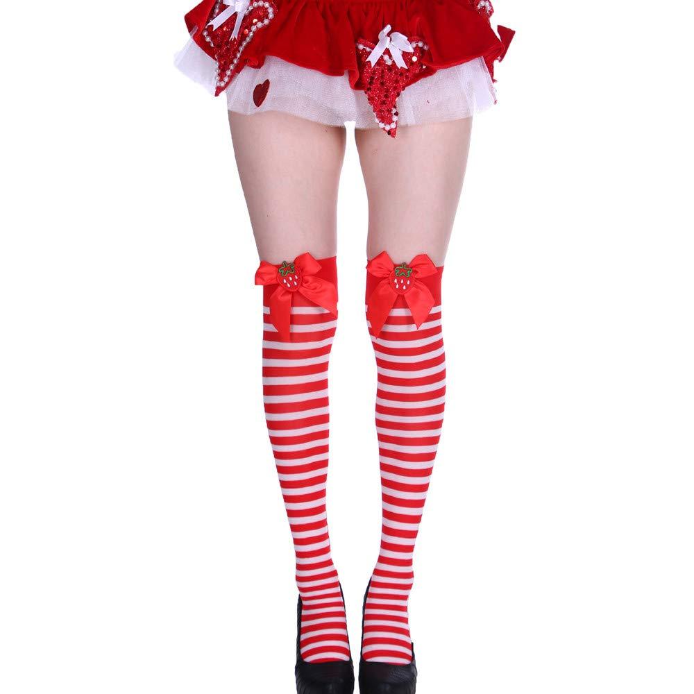 Hengshikeji Christmas Womens Socks Stripe Print Knit Warm Long Tube Knee Socks Fancy Dress Party Funny Dress Up Props