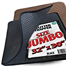 "iPrimio Jumbo Size Cat Litter Trapper Litter Mat, EZ Clean Cat Mat, Litter Box Mat Water Proof Layer and Puppy Pad Option. Patented. (32""x30"" Black)"