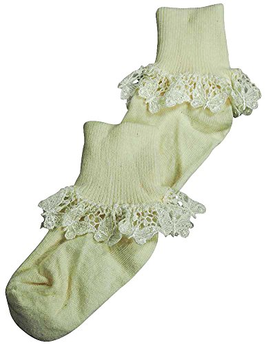 Ivory Lace Socks (Christian Dior - Little Girls Butterfly Lace Cuff Sock, Ivory 37062-X-Small)