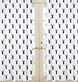 Sweet Jojo Designs 2-Piece Navy Blue and White Woodland Deer Boys Bedroom Decor Window Treatment Panels