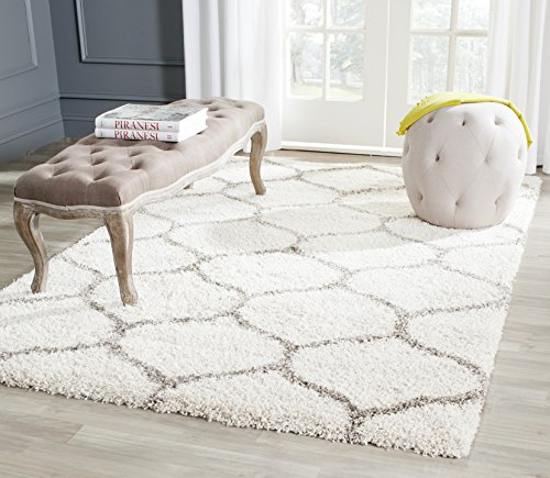 Safavieh Hudson Shag Collection SGH280A Ivory and Grey Area Rug, 8 feet by 10 feet (8' x 10')