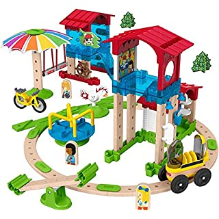Fisher-Price Wonder Makers Slide & Ride Schoolyard - 75+ Piece Building and Wooden Track Play Set for Ages 3 Years & Up