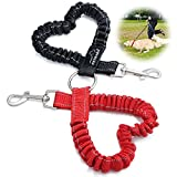 Double Dog Leash Coupler, PETBABA 40cm/1.3FT Length Bungee Reflective Adjustable Training Dog Lead for 2 Dogs Red