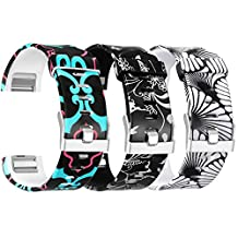 For Fitbit Charge 2 Bands, SKYLET 3 Pack Soft Silicone Replacement Bands for Fitbit Charge 2 Bracelet with Secure Watch Clasp (No Tracker)
