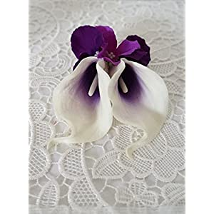 Sweet Home Deco Real Touch Calla Lily Wedding Bride Bouquet/ Boutonniere/ Corsage Artifiial Flower Wedding Flower Package (Purple- Wrist Corsage) 12