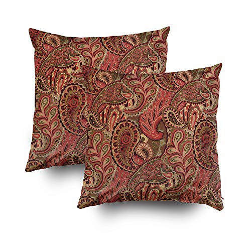 Musesh Pack of 2 floral paisley in red brown motif Cushions Case Throw Pillow Cover Sofa Home Decorative Pillowslip Gift Ideas Household Pillowcase Zippered Pillow Covers 18X18Inch
