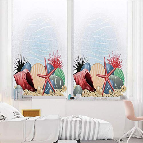 (Pearls Decor 3D No Glue Static Decorative Privacy Window Films, Seashells Starfish and Coral Underwater Sea Life Seaside Art Prints Decorative,17.7
