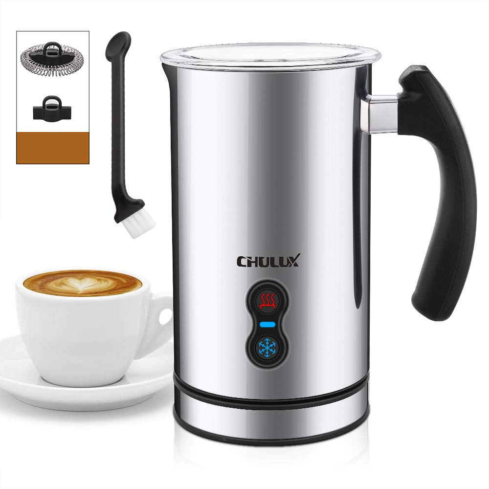 Milk Frother,CHULUX Electric Hot Cold Foam Maker with Whisks and Strix Control,Silent Operation with Indicator Light for Coffee,Cappuccinos,Lattes,500Watts