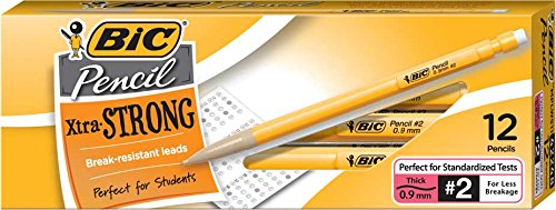 BIC Xtra-Strong Mechanical Pencil, Yellow Barrel, Thick Point (0.9mm), 12-Count